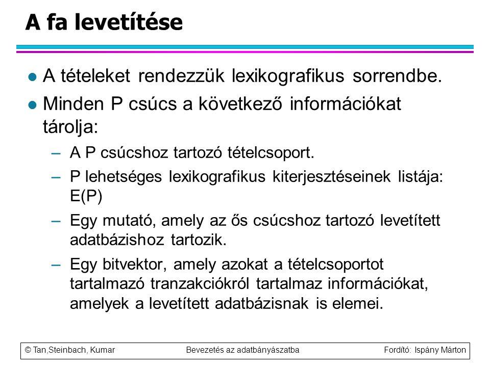 © Tan,Steinbach, Kumar Bevezetés az adatbányászatba Fordító: Ispány Márton A fa levetítése l A tételeket rendezzük lexikografikus sorrendbe. l Minden