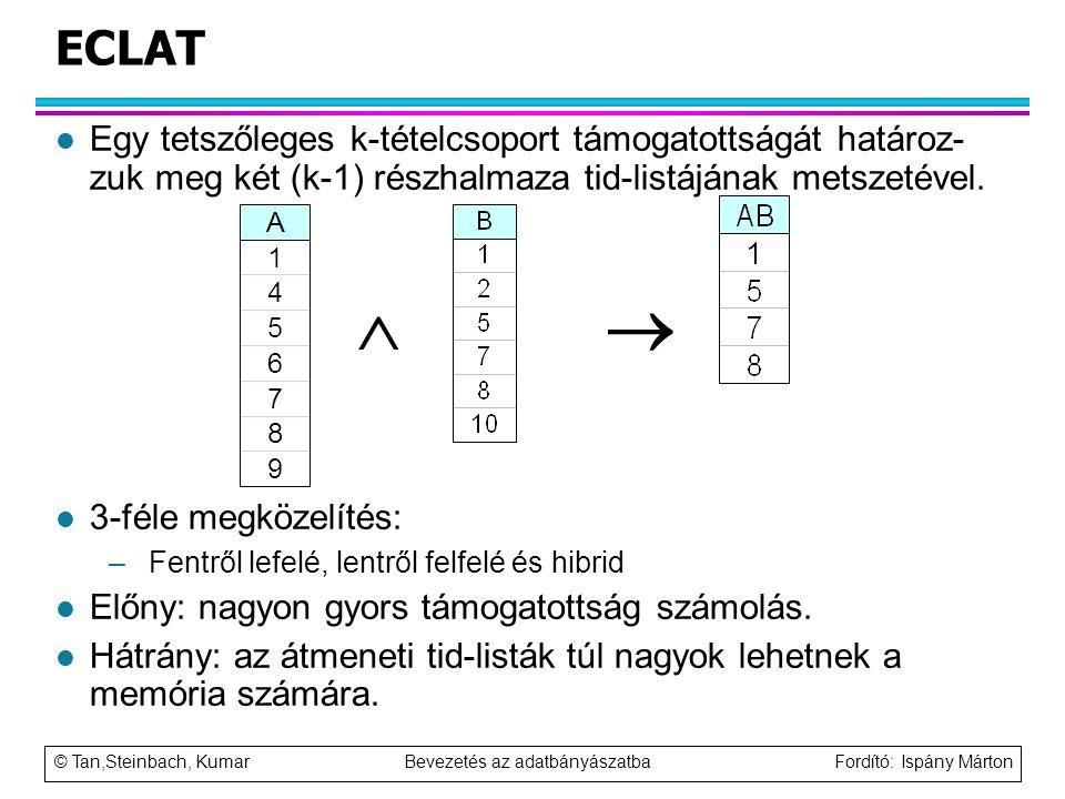 © Tan,Steinbach, Kumar Bevezetés az adatbányászatba Fordító: Ispány Márton ECLAT l Egy tetszőleges k-tételcsoport támogatottságát határoz- zuk meg két