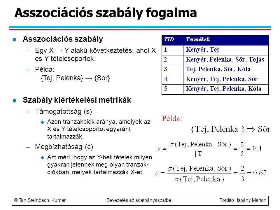 © Tan,Steinbach, Kumar Bevezetés az adatbányászatba Fordító: Ispány Márton Asszociációs szabály fogalma Példa: l Asszociációs szabály –Egy X  Y alakú