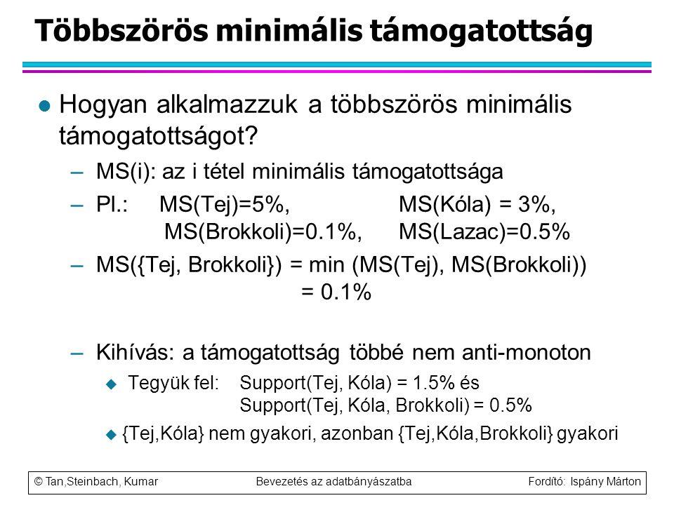 © Tan,Steinbach, Kumar Bevezetés az adatbányászatba Fordító: Ispány Márton Többszörös minimális támogatottság l Hogyan alkalmazzuk a többszörös minimá