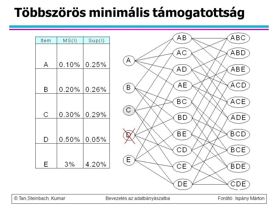 © Tan,Steinbach, Kumar Bevezetés az adatbányászatba Fordító: Ispány Márton Többszörös minimális támogatottság
