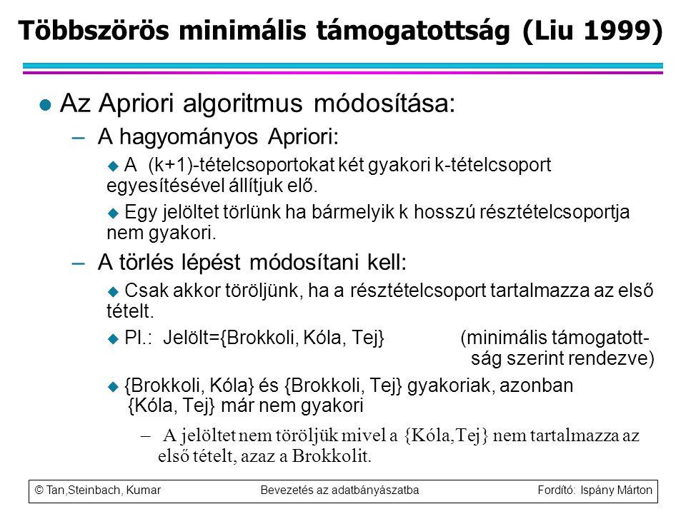 © Tan,Steinbach, Kumar Bevezetés az adatbányászatba Fordító: Ispány Márton Többszörös minimális támogatottság (Liu 1999) l Az Apriori algoritmus módos