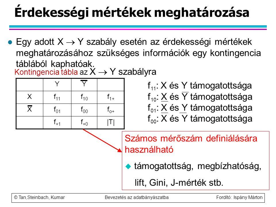 © Tan,Steinbach, Kumar Bevezetés az adatbányászatba Fordító: Ispány Márton Érdekességi mértékek meghatározása l Egy adott X  Y szabály esetén az érde
