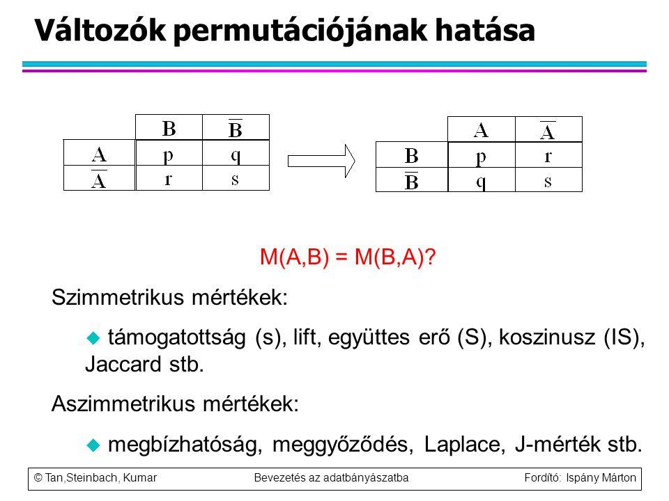 © Tan,Steinbach, Kumar Bevezetés az adatbányászatba Fordító: Ispány Márton Változók permutációjának hatása M(A,B) = M(B,A)? Szimmetrikus mértékek: u t