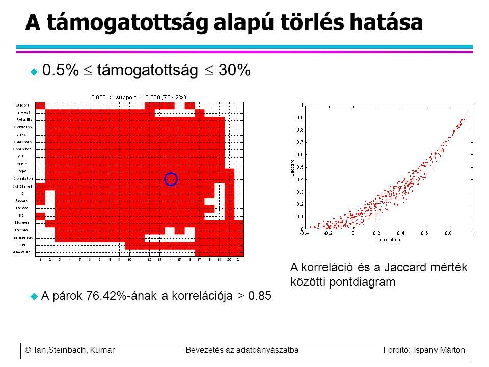 © Tan,Steinbach, Kumar Bevezetés az adatbányászatba Fordító: Ispány Márton A támogatottság alapú törlés hatása u 0.5%  támogatottság  30% u A párok
