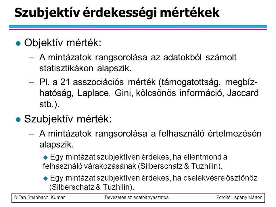 © Tan,Steinbach, Kumar Bevezetés az adatbányászatba Fordító: Ispány Márton Szubjektív érdekességi mértékek l Objektív mérték: –A mintázatok rangsorolá