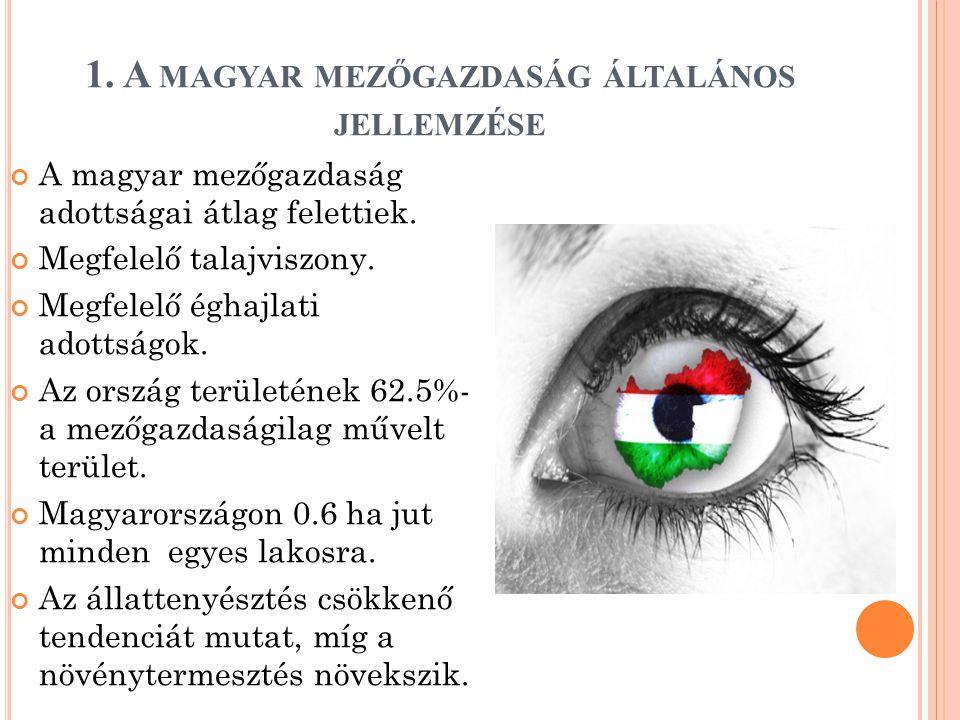 1. A MAGYAR MEZŐGAZDASÁG ÁLTALÁNOS JELLEMZÉSE A magyar mezőgazdaság adottságai átlag felettiek.