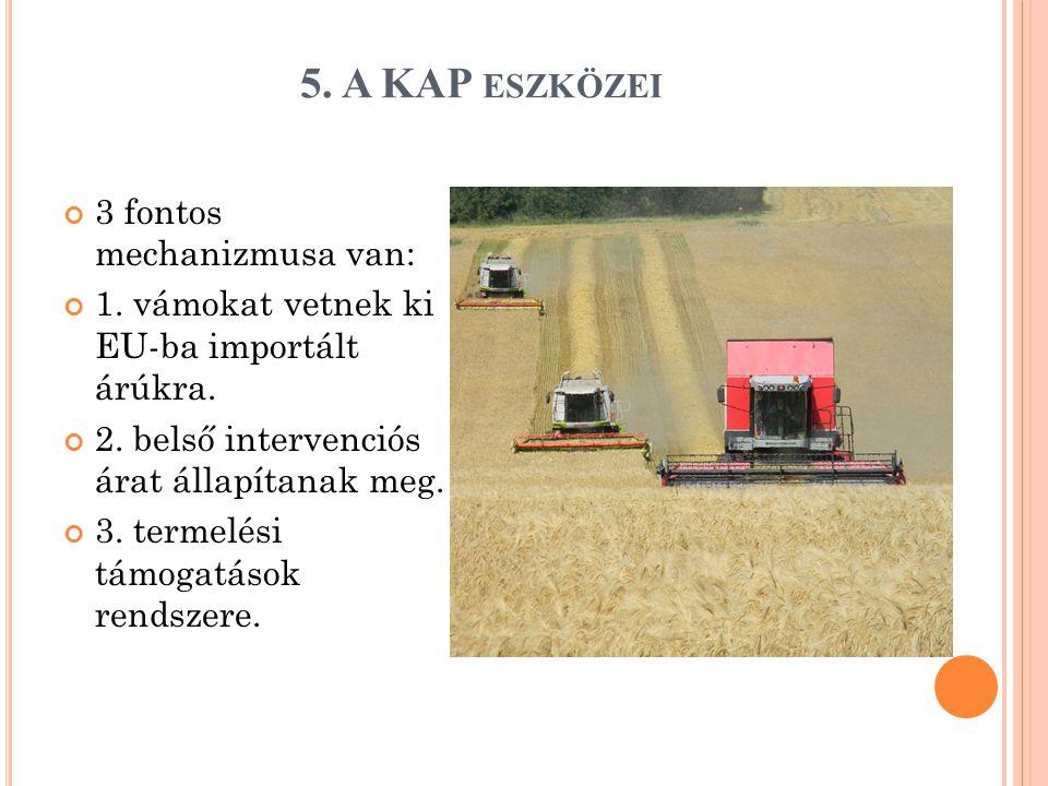 5. A KAP ESZKÖZEI 3 fontos mechanizmusa van: 1. vámokat vetnek ki EU-ba importált árúkra.