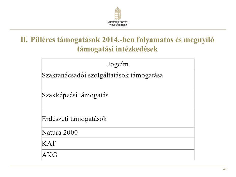 40 II. Pilléres támogatások 2014.-ben folyamatos és megnyíló támogatási intézkedések Jogcím Szaktanácsadói szolgáltatások támogatása Szakképzési támog