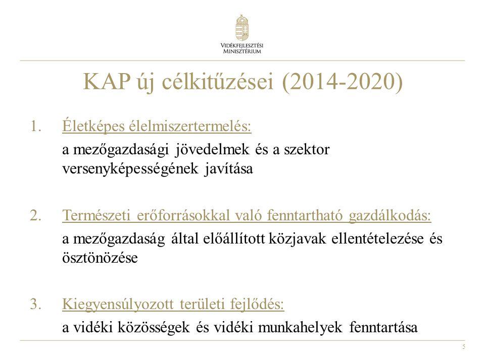 5 KAP új célkitűzései (2014-2020) 1.Életképes élelmiszertermelés: a mezőgazdasági jövedelmek és a szektor versenyképességének javítása 2.Természeti er