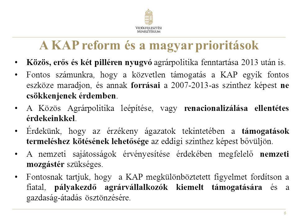 6 A KAP reform és a magyar prioritások Közös, erős és két pilléren nyugvó agrárpolitika fenntartása 2013 után is. Fontos számunkra, hogy a közvetlen t