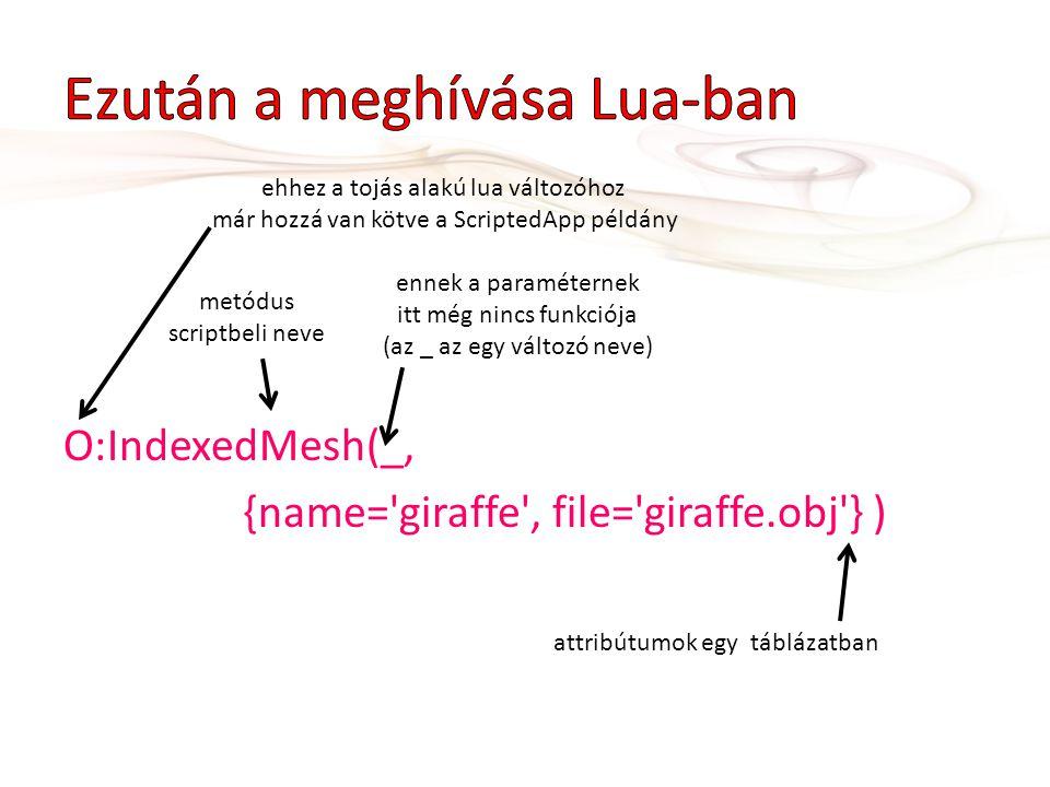 O:IndexedMesh(_, {name='giraffe', file='giraffe.obj'} ) ehhez a tojás alakú lua változóhoz már hozzá van kötve a ScriptedApp példány ennek a paraméter