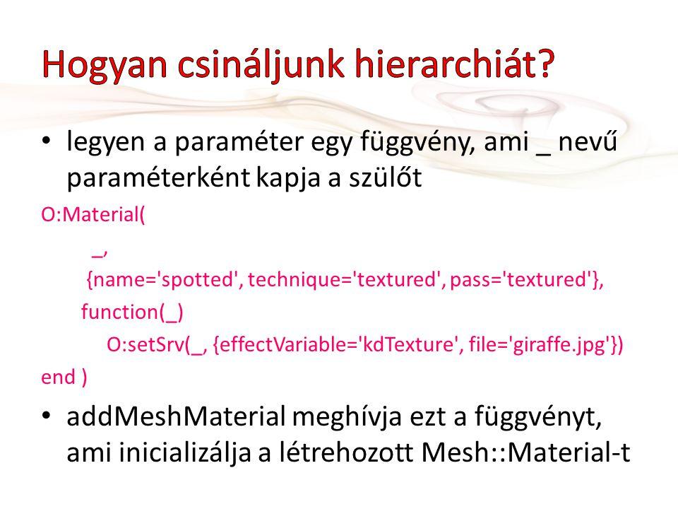 legyen a paraméter egy függvény, ami _ nevű paraméterként kapja a szülőt O:Material( _, {name='spotted', technique='textured', pass='textured'}, funct