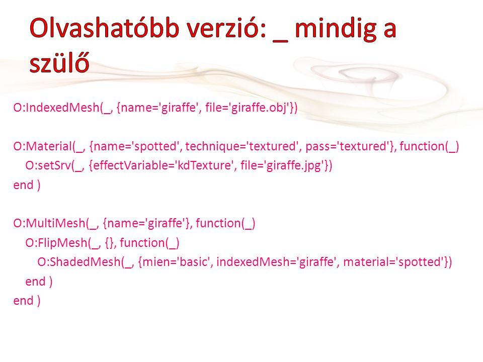 O:IndexedMesh(_, {name='giraffe', file='giraffe.obj'}) O:Material(_, {name='spotted', technique='textured', pass='textured'}, function(_) O:setSrv(_,