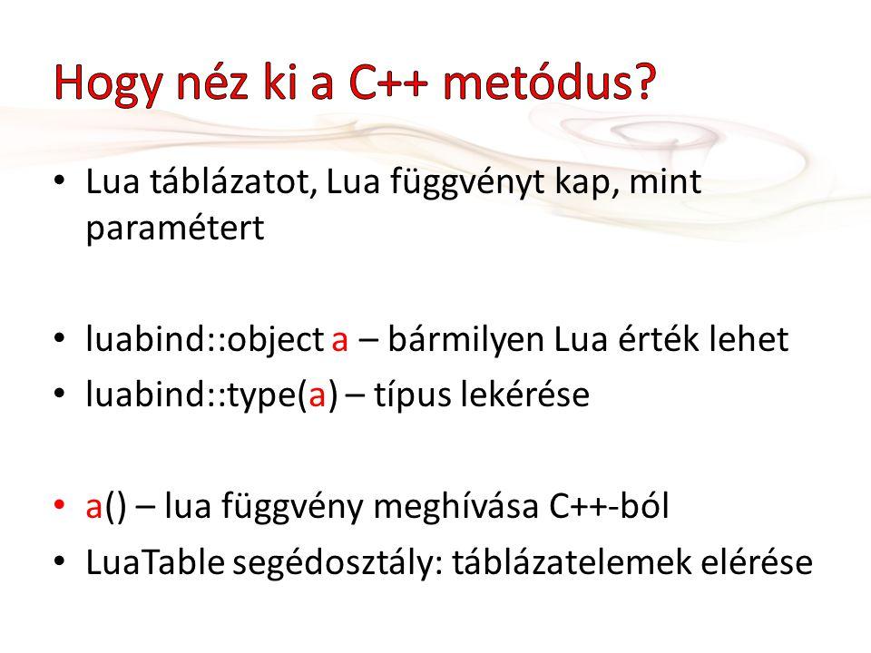 Lua táblázatot, Lua függvényt kap, mint paramétert luabind::object a – bármilyen Lua érték lehet luabind::type(a) – típus lekérése a() – lua függvény