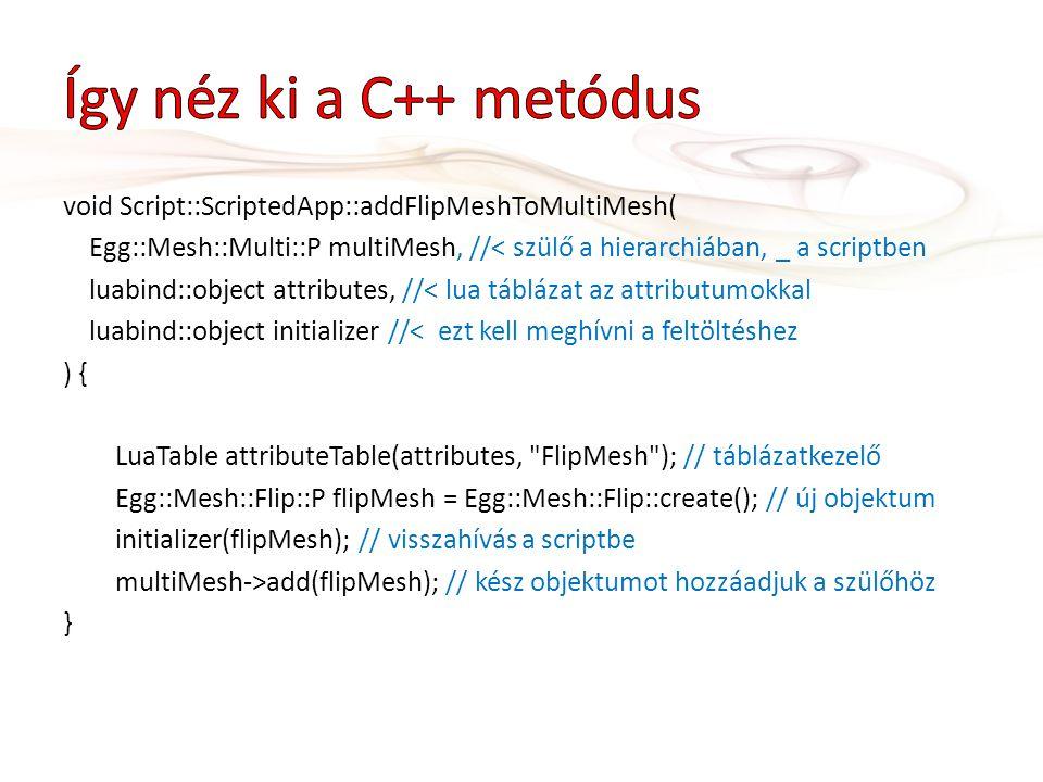 void Script::ScriptedApp::addFlipMeshToMultiMesh( Egg::Mesh::Multi::P multiMesh, //< szülő a hierarchiában, _ a scriptben luabind::object attributes,