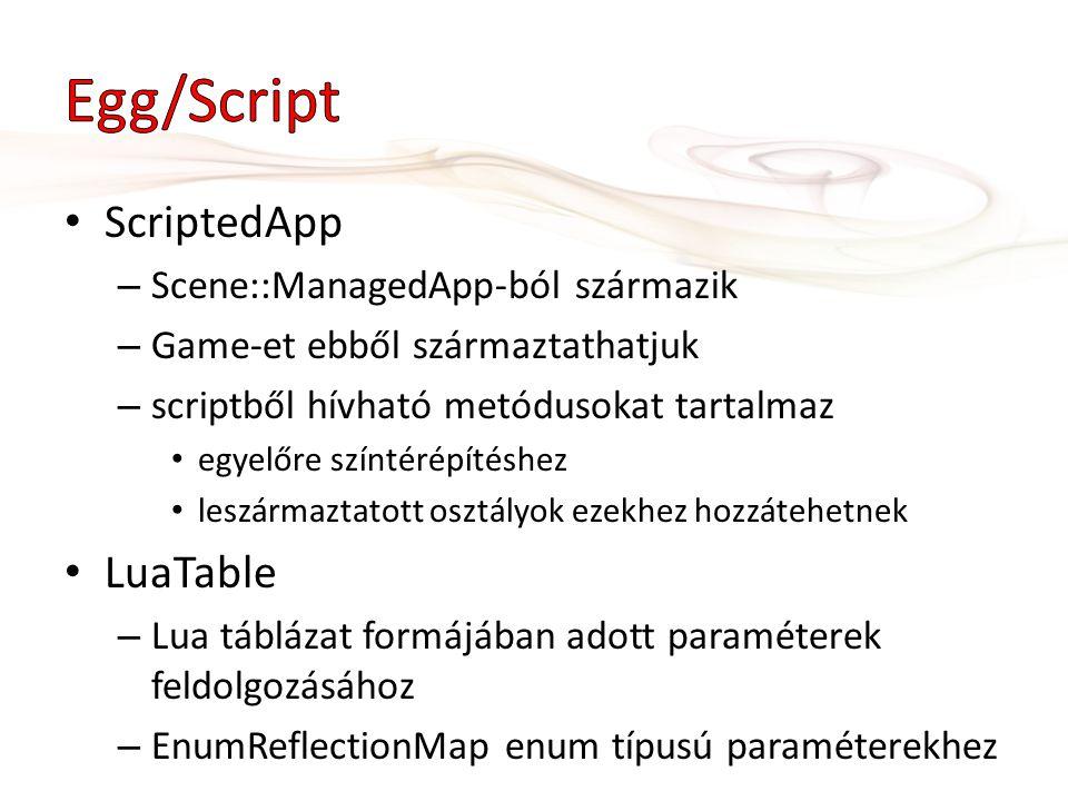 ScriptedApp – Scene::ManagedApp-ból származik – Game-et ebből származtathatjuk – scriptből hívható metódusokat tartalmaz egyelőre színtérépítéshez les