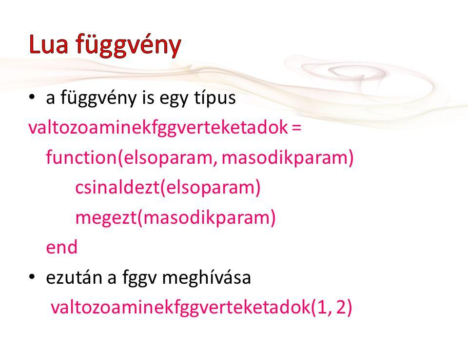 a függvény is egy típus valtozoaminekfggverteketadok = function(elsoparam, masodikparam) csinaldezt(elsoparam) megezt(masodikparam) end ezután a fggv