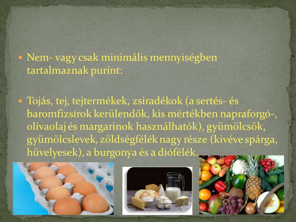 Nem- vagy csak minimális mennyiségben tartalmaznak purint: Tojás, tej, tejtermékek, zsiradékok (a sertés- és baromfizsírok kerülendők, kis mértékben n