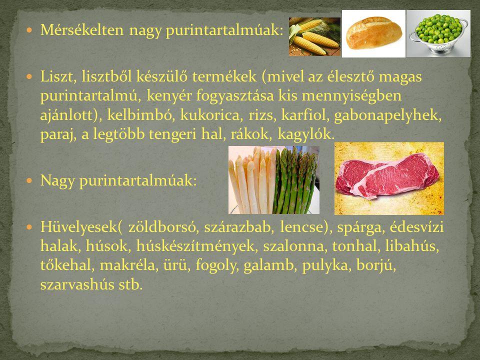 Mérsékelten nagy purintartalmúak: Liszt, lisztből készülő termékek (mivel az élesztő magas purintartalmú, kenyér fogyasztása kis mennyiségben ajánlott