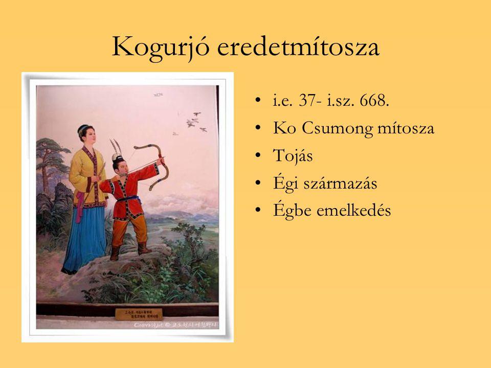 Kogurjó eredetmítosza i.e. 37- i.sz. 668. Ko Csumong mítosza Tojás Égi származás Égbe emelkedés