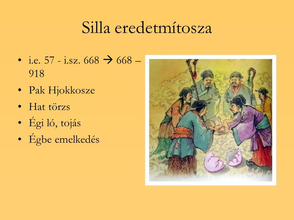 Silla eredetmítosza i.e. 57 - i.sz. 668  668 – 918 Pak Hjokkosze Hat törzs Égi ló, tojás Égbe emelkedés