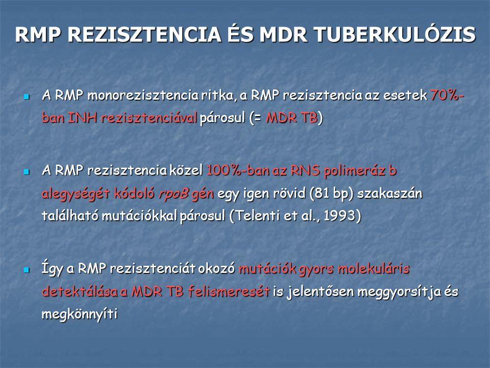 RMP REZISZTENCIA É S MDR TUBERKUL Ó ZIS A RMP monorezisztencia ritka, a RMP rezisztencia az esetek 70%- ban INH rezisztenciával párosul (= MDR TB) A R