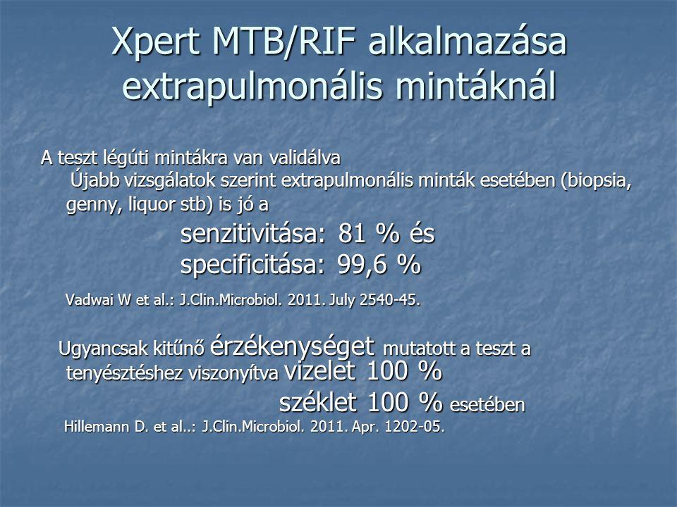 Xpert MTB/RIF alkalmazása extrapulmonális mintáknál A teszt légúti mintákra van validálva Újabb vizsgálatok szerint extrapulmonális minták esetében (b