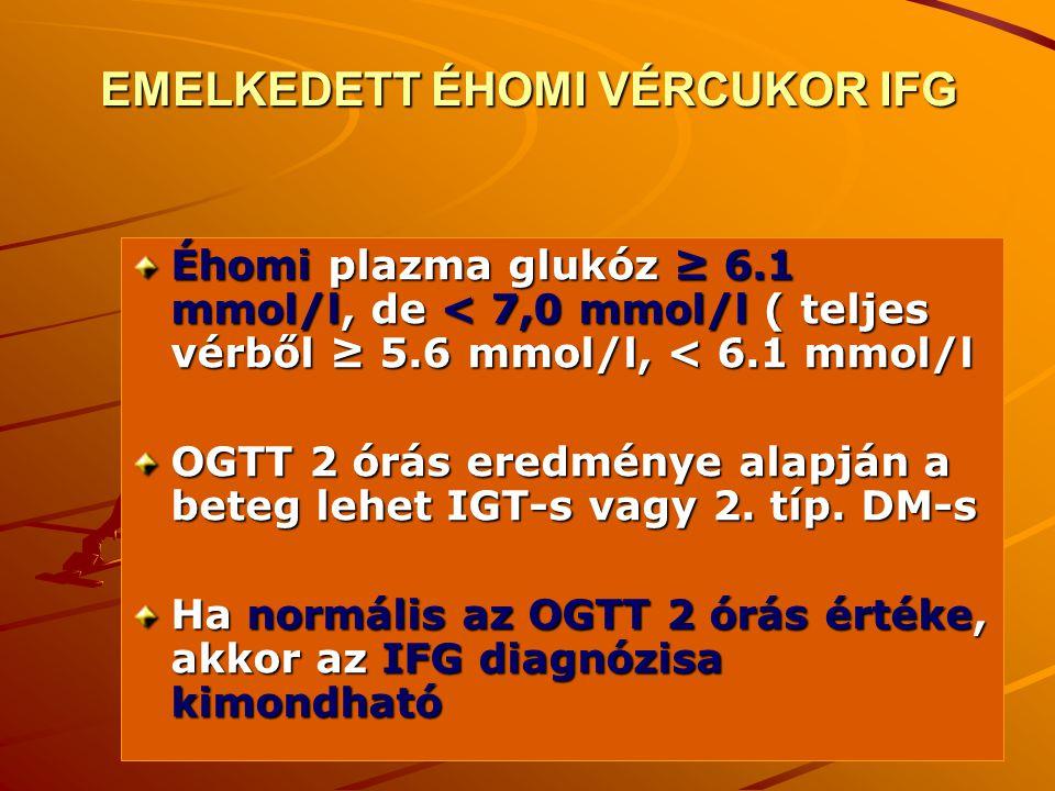 12 EMELKEDETT ÉHOMI VÉRCUKOR IFG Éhomi plazma glukóz ≥ 6.1 mmol/l, de < 7,0 mmol/l ( teljes vérből ≥ 5.6 mmol/l, < 6.1 mmol/l OGTT 2 órás eredménye al