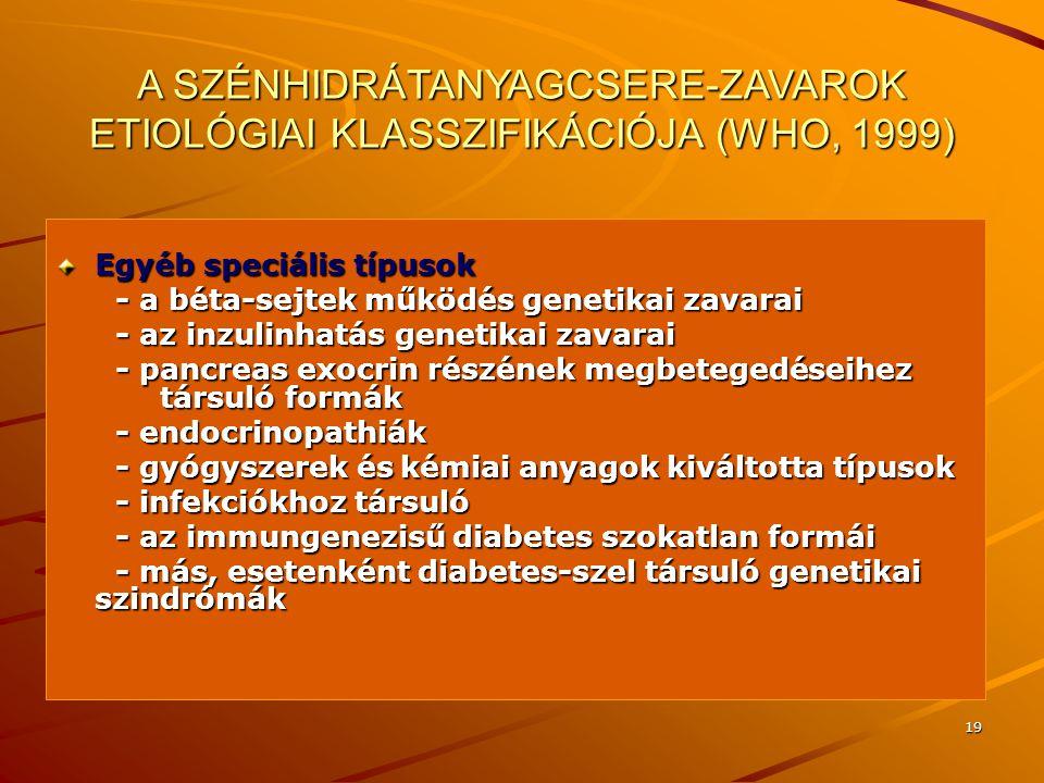19 A SZÉNHIDRÁTANYAGCSERE-ZAVAROK ETIOLÓGIAI KLASSZIFIKÁCIÓJA (WHO, 1999) Egyéb speciális típusok - a béta-sejtek működés genetikai zavarai - a béta-s