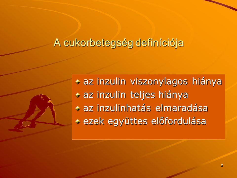 2 A cukorbetegség definíciója az inzulin viszonylagos hiánya az inzulin teljes hiánya az inzulinhatás elmaradása ezek együttes előfordulása