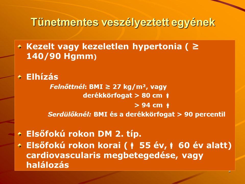 16 A DM ÉS A GLUKÓZINTOLERANCIA EGYÉB KATEGÓRIÁINAK KÓRISMÉZÉSÉRE SZOLGÁLÓ HATÁRÉRTÉKEK ( WHO, 1999) Glukózkoncentráció(mmol/l) Glukózkoncentráció(mmol/l) Kapilláris teljes vér Vénás plazma Diabetes mellitus éhomi érték éhomi érték terhelés utáni 2 órás érték terhelés utáni 2 órás érték ≥ 6.1 ≥ 11.1 ≥ 7.0 ≥ 11.1 Csökkent glukóztolerancia (IGT) éhomi érték éhomi érték terhelés utáni 2 órás érték terhelés utáni 2 órás érték < 6.1 ≥ 7.8 de < 11.1 < 7.0 ≥ 7.8 de < 11.1 Emelkedett éhomi vércukor (IFG) éhomi érték éhomi érték terhelés utáni 2 órás érték terhelés utáni 2 órás érték ≥ 5.6 de < 6.1 < 7.8 ≥ 6.1 de < 7.0 < 7.8