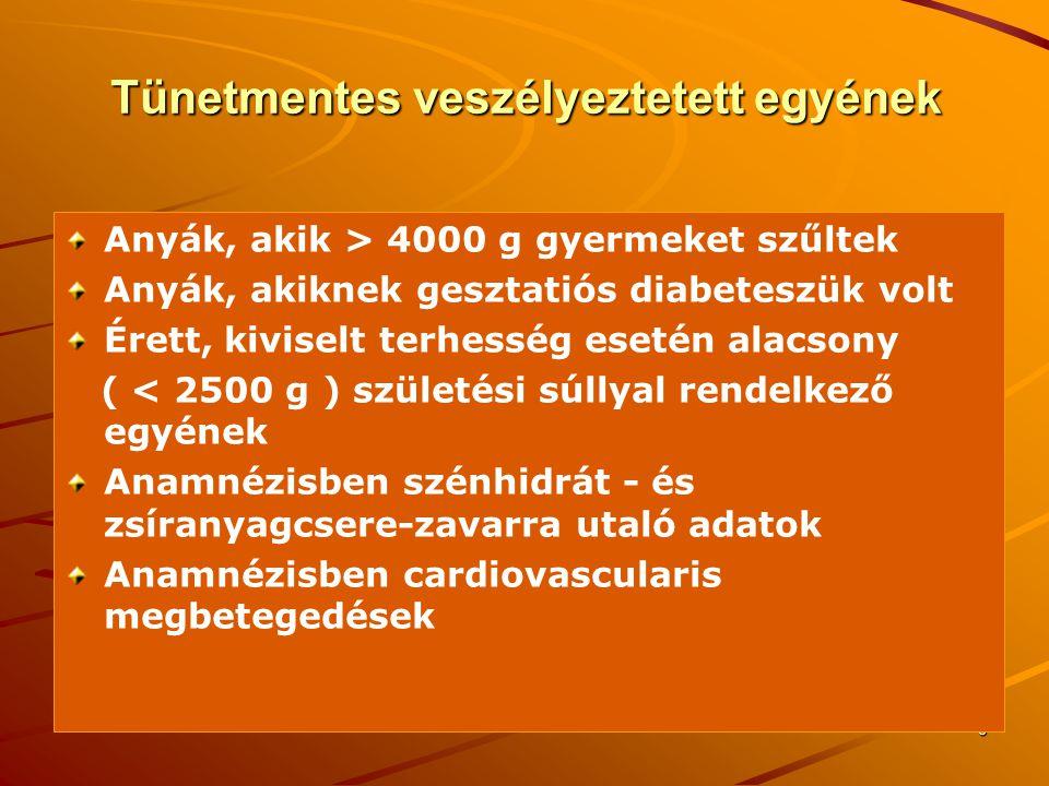 7 A cukorbetegség diagnózisa Klasszikus tünetek esetén:  8 óra éhezés utáni plazma vércukorszint ≥ 7 mmol/l  8 óra éhezés utáni plazma vércukorszint ≥ 7 mmol/l  étkezés után bármely időpontban mért plazma vércukorszint ≥ 11.1 mmol/l  étkezés után bármely időpontban mért plazma vércukorszint ≥ 11.1 mmol/l