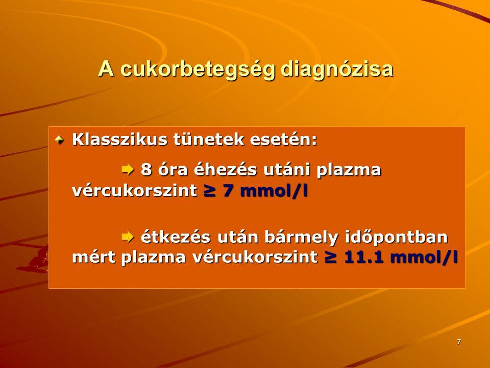 8 A cukorbetegség diagnózisa Klasszikus tünetek hiányában:  éhomi vércukorszint ismételten mérve ≥ 7 mmol/l  éhomi vércukorszint ismételten mérve ≥ 7 mmol/l  OGTT során a 120 perces vércukor ismételten ≥ 11.1 mmol/l  OGTT során a 120 perces vércukor ismételten ≥ 11.1 mmol/l