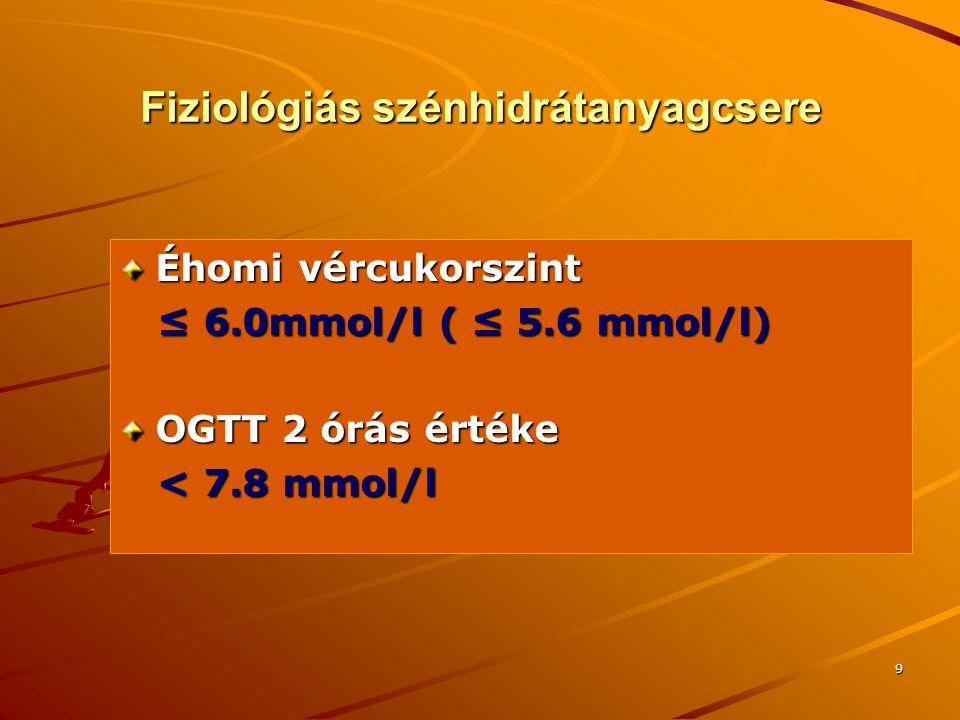 9 Fiziológiás szénhidrátanyagcsere Éhomi vércukorszint ≤ 6.0mmol/l ( ≤ 5.6 mmol/l) ≤ 6.0mmol/l ( ≤ 5.6 mmol/l) OGTT 2 órás értéke < 7.8 mmol/l < 7.8 m