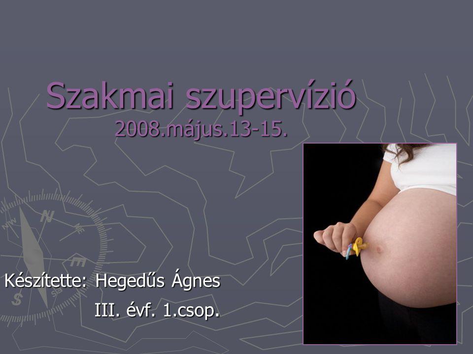 Szakmai szupervízió 2008.május.13-15. Készítette: Hegedűs Ágnes III. évf. 1.csop.