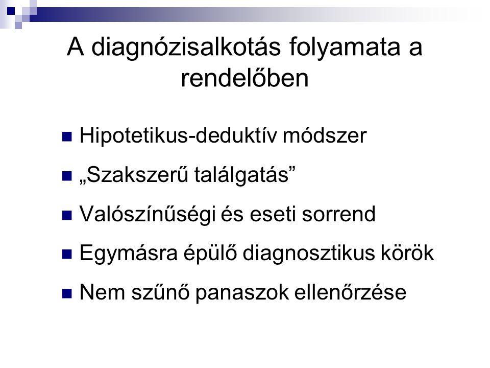 """A diagnózisalkotás folyamata a rendelőben Hipotetikus-deduktív módszer """"Szakszerű találgatás"""" Valószínűségi és eseti sorrend Egymásra épülő diagnoszti"""