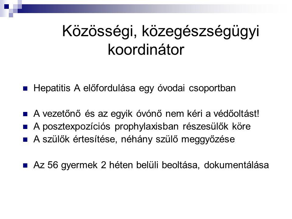 Közösségi, közegészségügyi koordinátor Hepatitis A előfordulása egy óvodai csoportban A vezetőnő és az egyik óvónő nem kéri a védőoltást! A posztexpoz