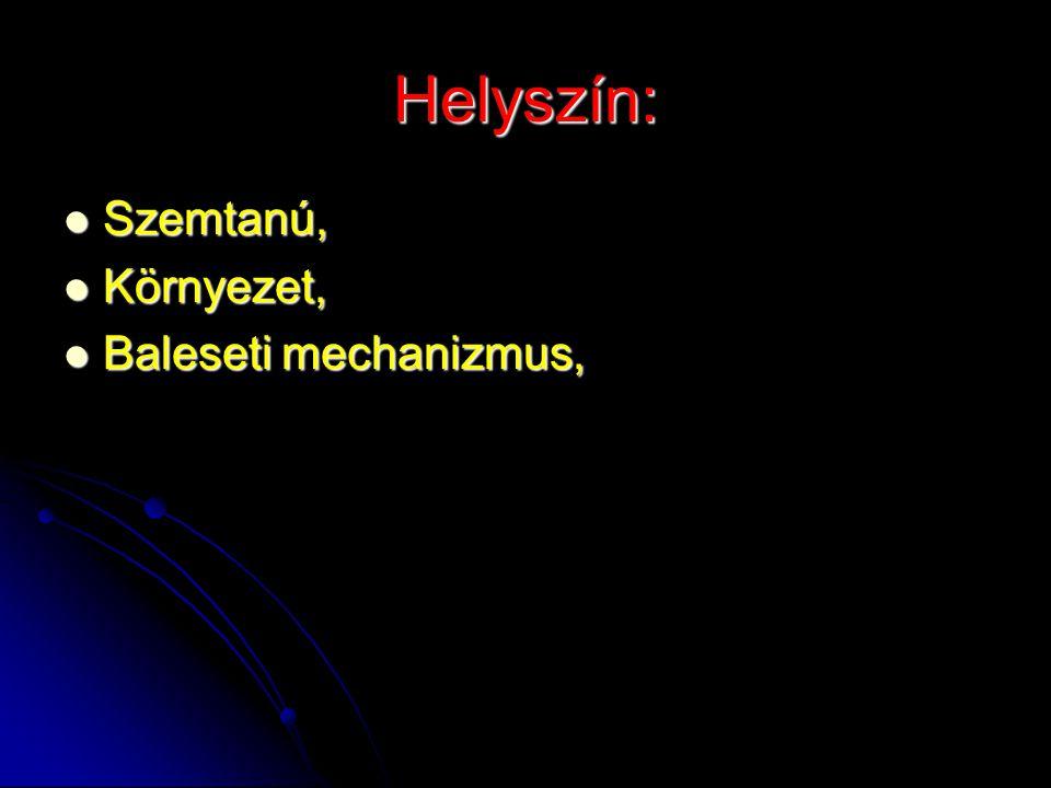 Helyszín: Szemtanú, Szemtanú, Környezet, Környezet, Baleseti mechanizmus, Baleseti mechanizmus,