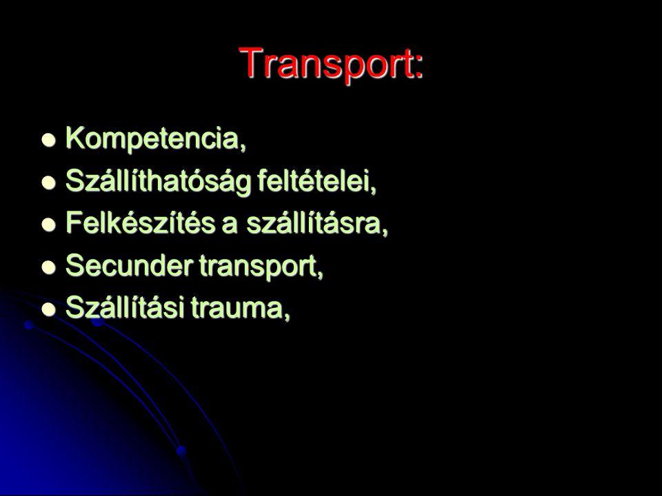 Transport: Kompetencia, Kompetencia, Szállíthatóság feltételei, Szállíthatóság feltételei, Felkészítés a szállításra, Felkészítés a szállításra, Secun
