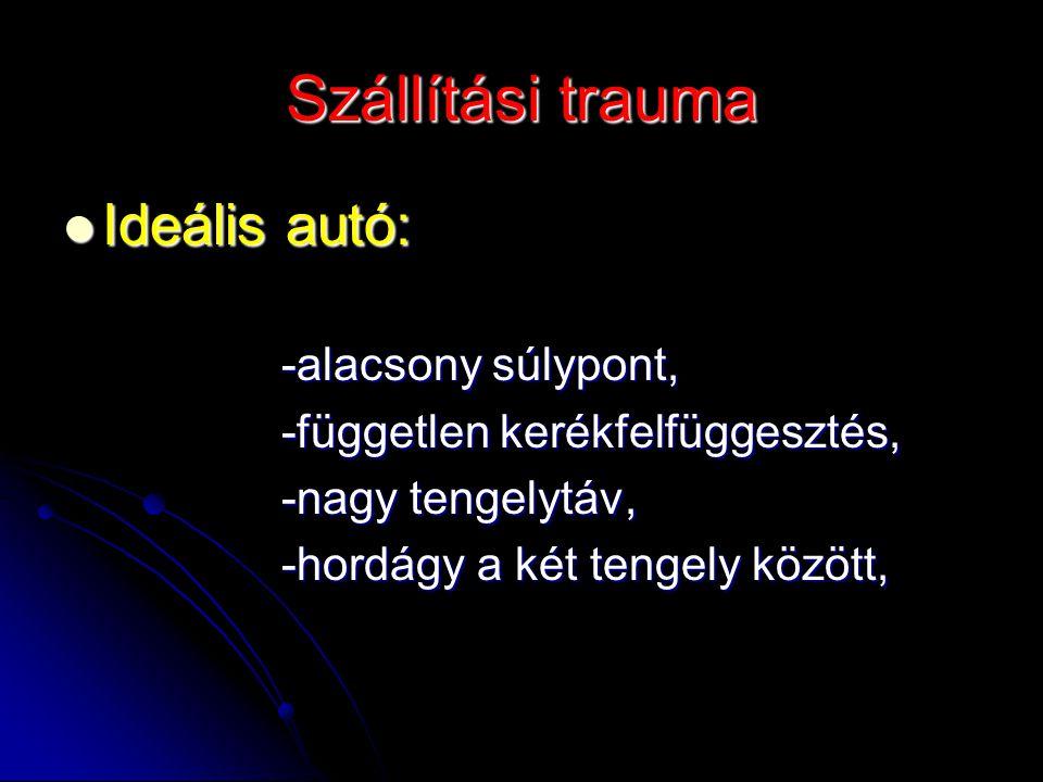 Szállítási trauma Ideális autó: Ideális autó: -alacsony súlypont, -alacsony súlypont, -független kerékfelfüggesztés, -független kerékfelfüggesztés, -n