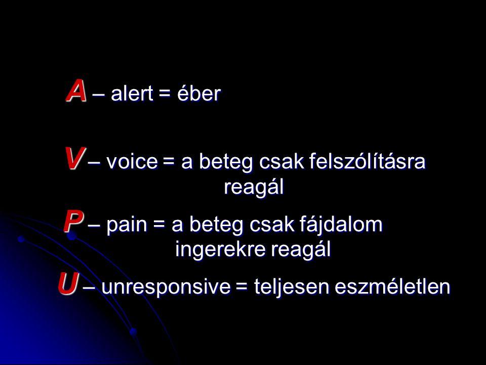 A – alert = éber A – alert = éber V – voice = a beteg csak felszólításra reagál V – voice = a beteg csak felszólításra reagál P – pain = a beteg csak