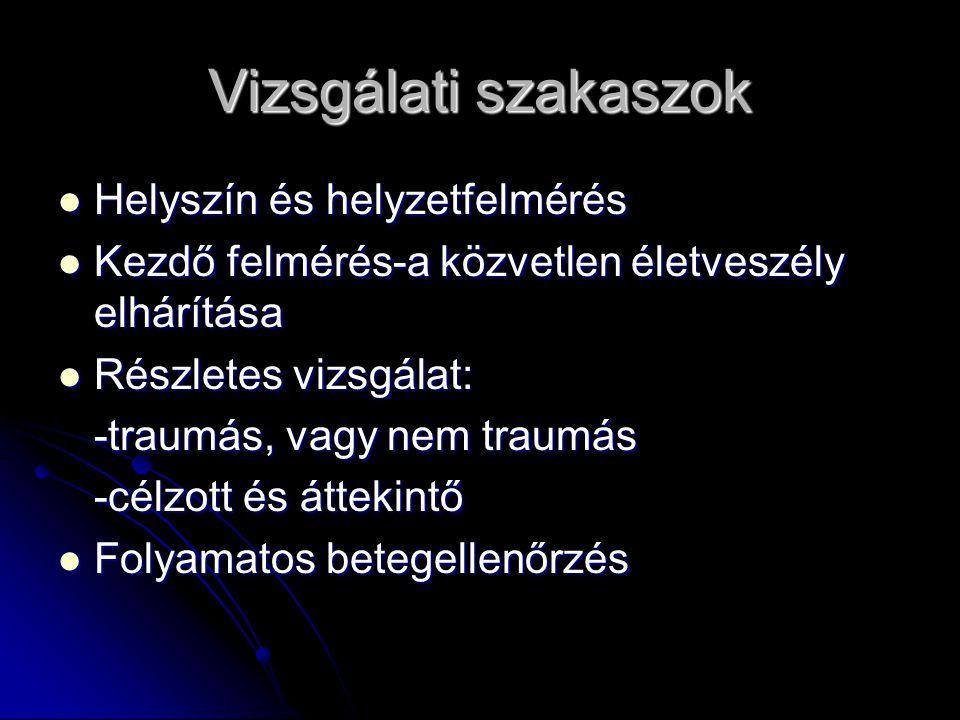 Vizsgálati szakaszok Helyszín és helyzetfelmérés Helyszín és helyzetfelmérés Kezdő felmérés-a közvetlen életveszély elhárítása Kezdő felmérés-a közvet