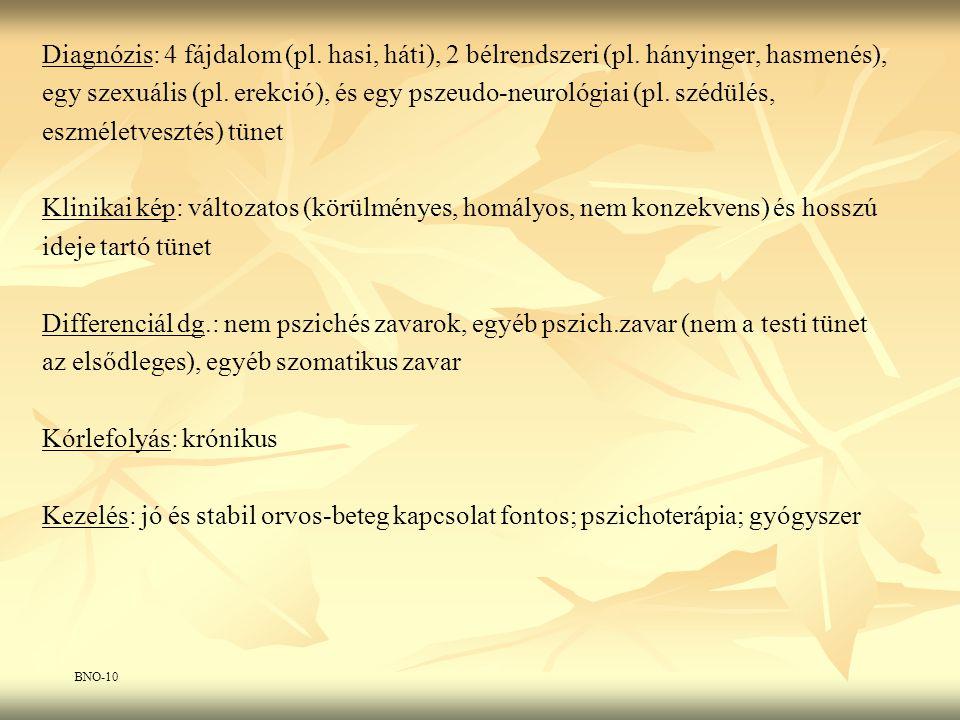 Diagnózis: 4 fájdalom (pl. hasi, háti), 2 bélrendszeri (pl. hányinger, hasmenés), egy szexuális (pl. erekció), és egy pszeudo-neurológiai (pl. szédülé