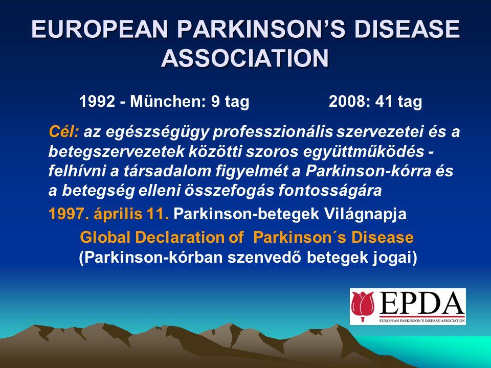 EUROPEAN PARKINSON'S DISEASE ASSOCIATION 1992 - München: 9 tag 2008: 41 tag Cél: az egészségügy professzionális szervezetei és a betegszervezetek közö