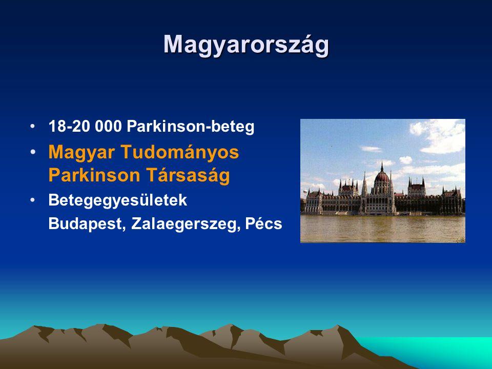 Magyarország 18-20 000 Parkinson-beteg Magyar Tudományos Parkinson Társaság Betegegyesületek Budapest, Zalaegerszeg, Pécs