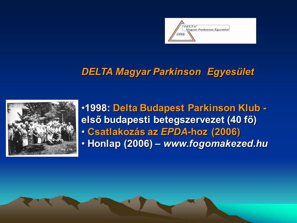 DELTA Magyar Parkinson Egyesület 1998: Delta Budapest Parkinson Klub - első budapesti betegszervezet (40 fő)1998: Delta Budapest Parkinson Klub - első
