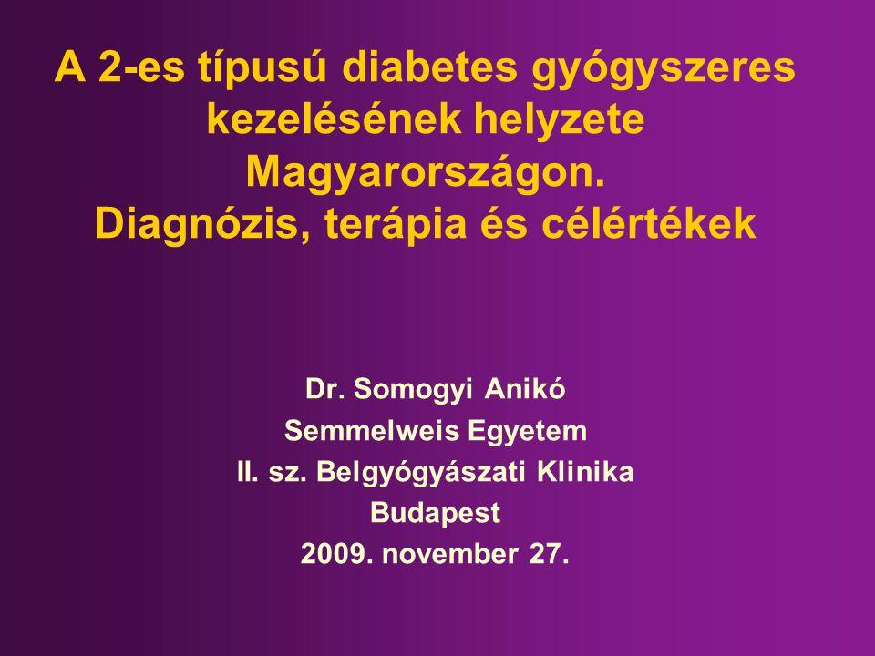 A 2-es típusú diabetes gyógyszeres kezelésének helyzete Magyarországon. Diagnózis, terápia és célértékek Dr. Somogyi Anikó Semmelweis Egyetem II. sz.