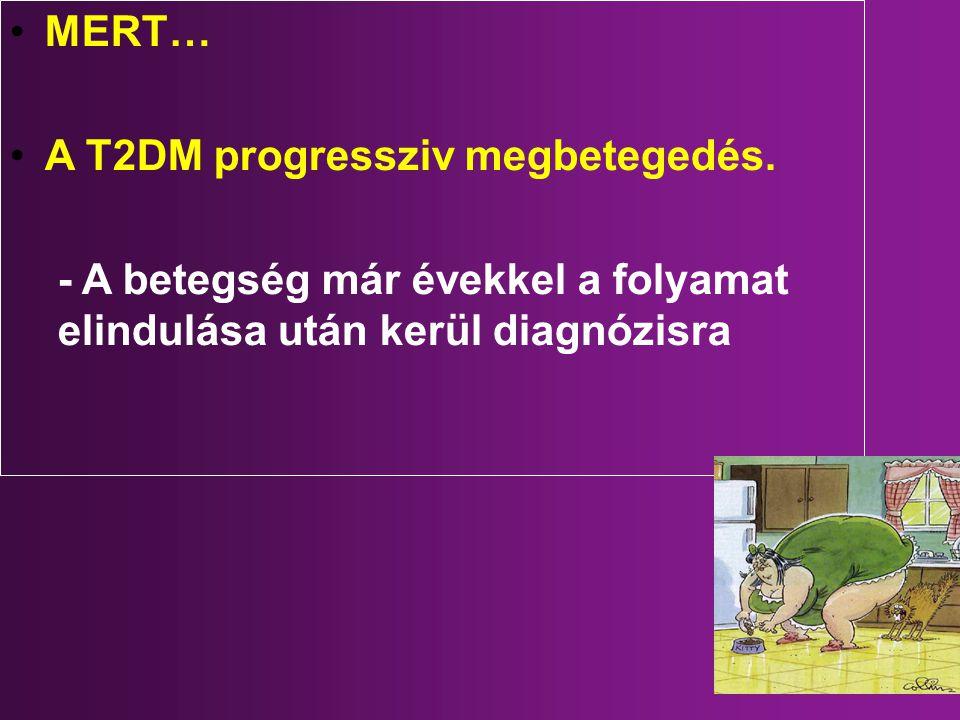 MERT… A T2DM progressziv megbetegedés. - A betegség már évekkel a folyamat elindulása után kerül diagnózisra