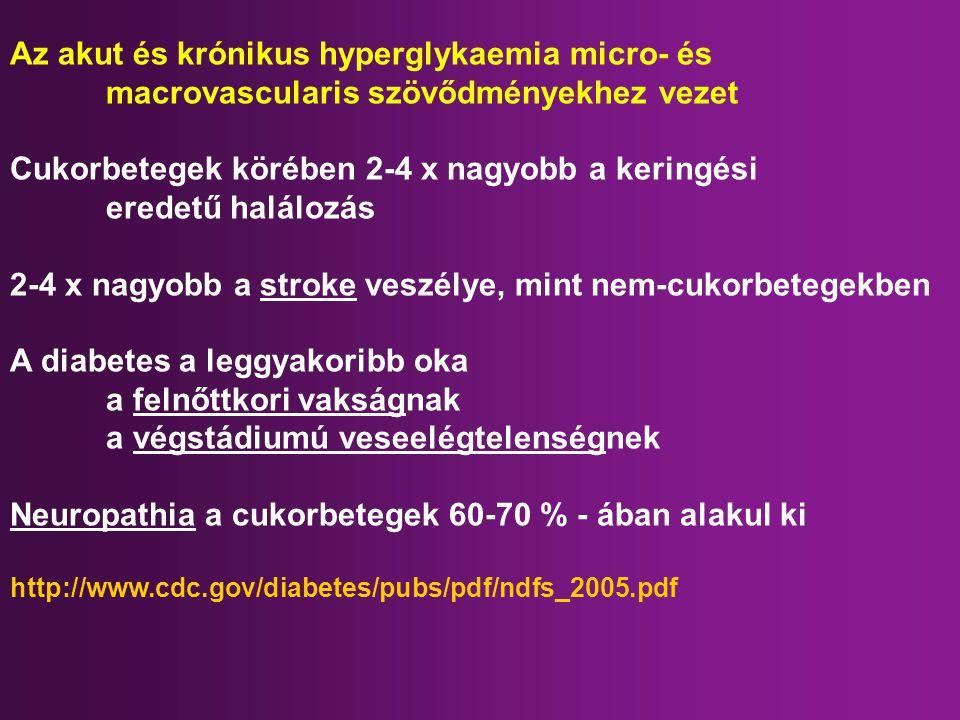 Az akut és krónikus hyperglykaemia micro- és macrovascularis szövődményekhez vezet Cukorbetegek körében 2-4 x nagyobb a keringési eredetű halálozás 2-